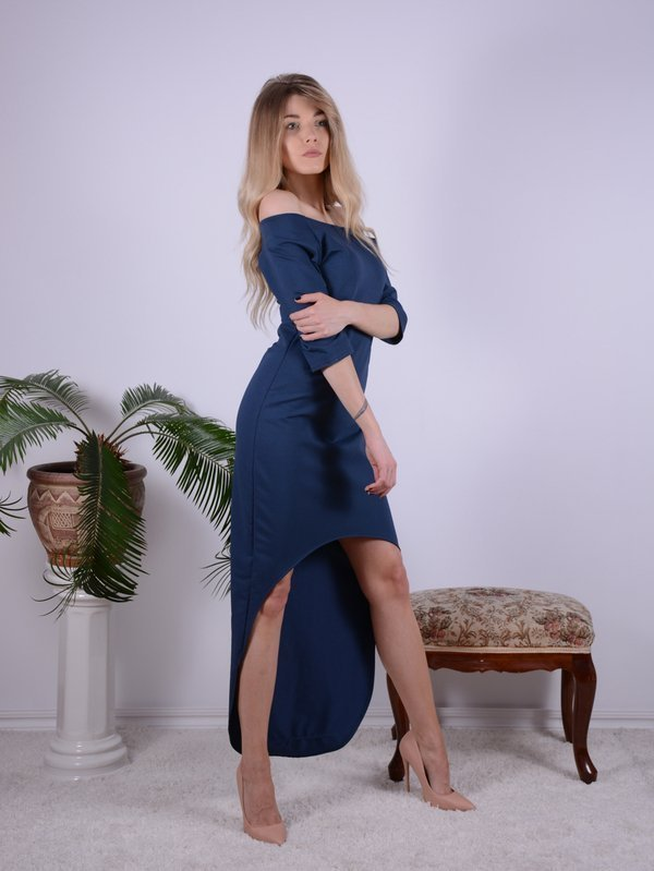 NAVY ASYMMETRIC DRESS